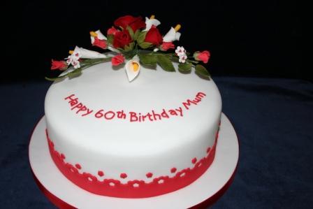 Birthday Cake With Spray Of Sugar Flowers