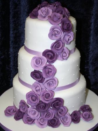 Melanie Ferris Cakes News Wedding Cake With Cascade Of Purple Roses