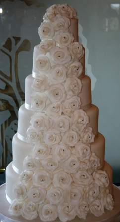 Melanie Ferris Cakes News » 6-tier white rose cascade wedding cake