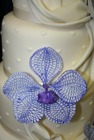 20130428-Wedding Cake with Sugar Drape and Close Up of Vanda Orchids.JPG