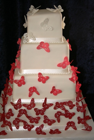 20130531-Red butterfly wedding cake.JPG