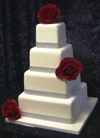 Melanie Ferris Cakes News » Diamonds and Red Roses - Wedding Cake