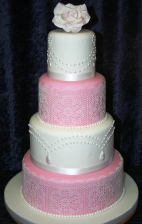 Melanie Ferris Cakes News » Pink and White Wedding Cake with Lace ...