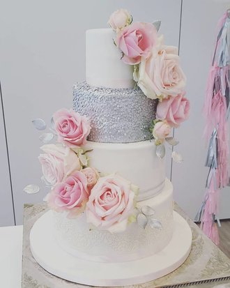 Melanie Ferris Cakes News » Silver, Pink and White Wedding Cake