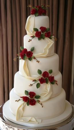 red roses wedding cake designs melanie ferris cakes news 187 5 tier wedding cake with roses 19146